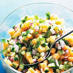 Charentais has orange flesh, but you can use any orange- or green-fleshed melon for this salsa--just not watermelon, because its flesh is too fragile and watery. This salsa is great with grilled chicken or pork.