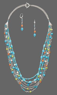 Jewelry Design - Multi-Strand Necklace and Earring Set with Magnesite Gemstone Beads, Wood Beads and Silver-Plated Brass Links - Fire Mountain Gems and Beads