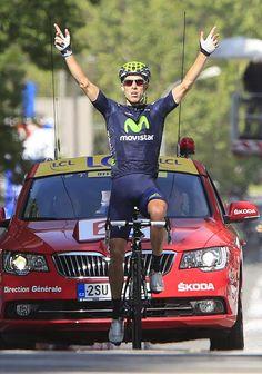 Rui Costa (Movistar) celebrates his second career Tour de France stage