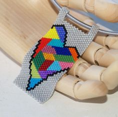 Crazy Quilt Heart... Peyote pendant reminiscent of a scrap quilt. Abstract, colorful, and filled with love. :-) $35