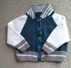 Knitted baseball sweater for Baby Steele, coming soon! Debbie Bliss cashmerino 4 pattern.