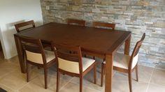 Comedor clásico con sillas modernas. Madera maciza + Tela Rustika = 10!!