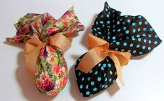 Ovos de Páscoa com embalagem de tecido. http://docesdcoracao.wix.com/docesdcoracao
