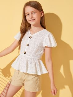 To find out about the Girls Button Detail Flutter Sleeve Schiffy Peplum Top at SHEIN, part of our latest Girls Blouses ready to shop online today! Kids Summer Dresses, Cute Girl Outfits, Cute Outfits For Kids, Little Girl Dresses, Girls Dresses, Girls Fashion Clothes, Tween Fashion, Fashion Outfits, Fashion Tips