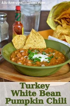 Kitchen Concoctions: Crock-Pot Turkey White Bean Pumpkin Chili. This is totally delish! I love the flavor of the pumpkin in this.