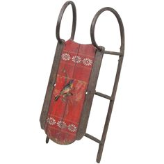 Antique Child's Cutter Sled / Sleigh in Original Red Paint with Song Bird  - Folk Art - Primitives - American - 19th C - 1860 - 1900