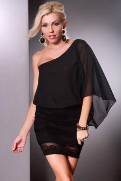 0e907f2536 Black Chiffon One Shoulder Floral Lace Banded Bottom Mini Dress   Sexy  Clubwear