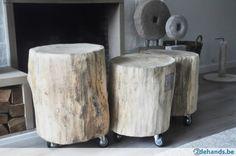 salontafel eik - boomstam op wielen Shabby Chic Interiors, Stool, Sweet Home, Woodworking, Wood Work, Karaoke, Table, Gardening, Furniture