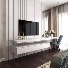 48 Cool Bedroom Tv Wall Design Ideas - Because the average person sleeps around hours each day, we have to pay attention to bedroom decoration. It has been said and proven that you can . Bedroom Tv Unit Design, Tv Unit Bedroom, Bedroom Tv Wall, Luxury Bedroom Design, Home Bedroom, Home Interior Design, Bedroom Decor, Master Bedroom, Bedroom With Tv