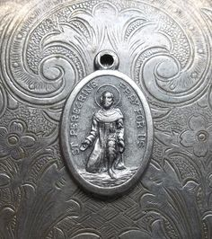 Saint Peregrine Silver Catholic Medal Patron Saint Of Those Suffering From Cancer, Pray For Us, Cancer Patient, Made In Italy, Vintage