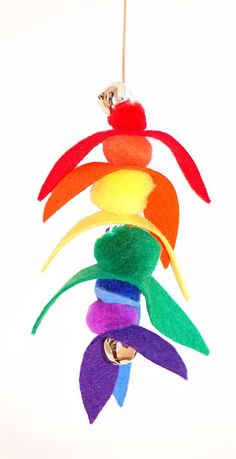Rainbow Flyer Kitty Toy, could make at school and make it a door tassel.