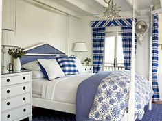 Classic Coastal Bedroom - MyHomeIdeas.com Love the clean look of this blue and white bedroom.