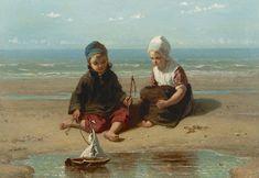 Jozef Israels | 1824 - 1911 Spelende visserskinderen Olie op doek 48 x 68 cm, gesigneerd linksonder en gedateerd 1865