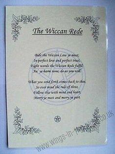 PAGAN A4 Posters-Charge of the Goddess, Wheel of the Year, Wiccan Rede  | eBay