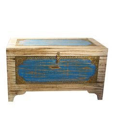 Take a look at this White & Blue Storage Trunk by Modelli Creations on #zulily today!