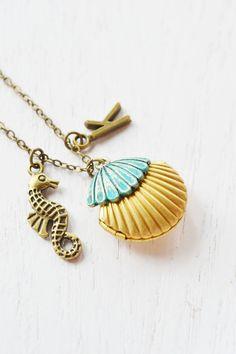 seashell locket clam shell locket pendant,patina jewelry,mermaids shell locket,personalised necklace,sea horse necklace,locket necklace,ocean theme,nautical,initial necklace
