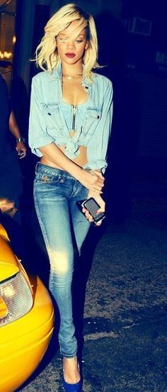 Denim on denim -- everything is so perf, from the hair to the heels! #rihanna