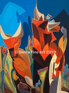 Surreal Animals Bulls Primitive Feel Reds Greens Flowers Modern Stylish Original Art Oil Paintings Decorative Eye Catching Composition by SierraFineArt on Etsy Original Art, Original Paintings, Oil Paintings, Cuban Art, Canvas Signs, Canvas Paper, Colorful Paintings, Green Flowers, American Artists