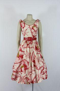 1950s Vintage Dress -  Cotton Sundress - Novelty Print Large Sombrero Hats Dress