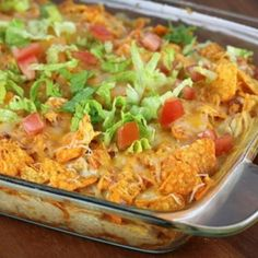 Dorito Chicken Casserole--i have this giant bag of uneaten doritos, we may need to try this.