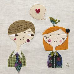 Love bird fabric collage by 'Lil Sonny Sky