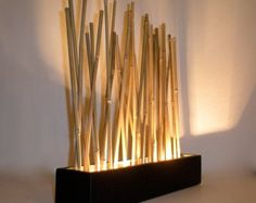 Lámpara de estado de ánimo de bambú - japonés moderno estilo accent tablero LED iluminación