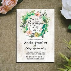 Wedding Reception Invitation Cactus wreath Succulent Wedding Invitation rustic Pink and Greenery Printable digital files