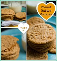 Vegan Peanut Butter Cookies. Warm. Chewy. Peanut Butter-y. #vegan #dessert; I added chocolate chips and they were a hit at my house