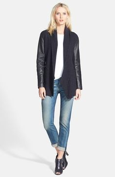 Eileen Fisher Leather Sleeve Merino Lambswool Jacket (Regular & Petite) | Nordstrom