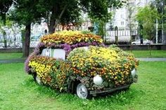 images of old cars used in landscaping - Google Search