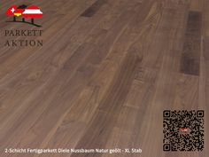 2-Schicht Fertigparkett Diele Nussbaum Natur geölt - XL Stab Format: 1200 x 120 x 11 mm Hardwood Floors, Flooring, Crafts, Tree Structure, Wood Floor Tiles, Wood Flooring, Manualidades, Handmade Crafts, Craft