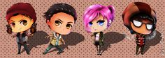 Delsin, Fetch, Eugene, and Reggie. This is a cool look for them gives them the little big planet lay out