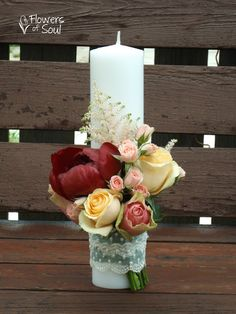 Flowers of Soul: Lumanari de nunta Candle Centerpieces, Christmas Centerpieces, Pillar Candles, Clay Flowers, Paper Flowers, Design Floral, Church Flowers, Vase Fillers, Bride Bouquets