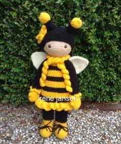 Bijenmeisje gehaakt met een lalylala patroon,daar heb ikmet aanpassingen een bijen meisje van gemaakt.