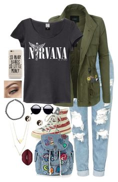 """""""/ / n i r v a n a / /"""" by haymay2000 on Polyvore featuring Topshop, LE3NO, Converse, Anya Hindmarch, Big Bud Press, Hollywood Mirror, Hipstapatch and Boohoo"""