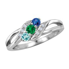 Mothers Birthstone and Diamond Accent Swirl Ring in 10K White or Yellow Gold (3 Stones) - Zales