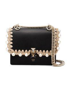 39addfe57c Fendi Black Kan I Small Leather Bag With Crochet Trim