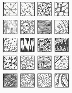 Zentangle, rustgevend tekenen: Zentangle, voorbeelden patronen 4