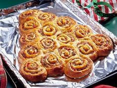 Cinnamon Roll Christmas tree on Christmas morning.  Use your favorite canned cinnamon rolls. 2 cans of 8.