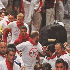 #Pamplona: Our friend Zane Pratt decided to attend the most famous running of the bulls festival #Sanfermines in #Spain. Luckily, he's okay. #luckyguy #onceinalifetime #localculture #comissionculture