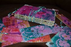 hand made and painted book and bookmarks. Gwen Evetts
