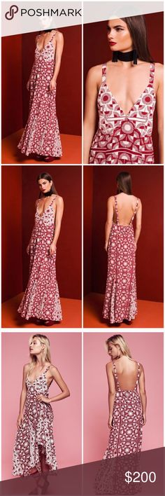 """STONE COLD FOX YOKO DRESS REFORMATION LOVE LEMONS Gorgeous patterned """"YOKO"""" gown from Stone Cold Fox. Size 1. Plunging front and open back. New without tags from our showroom ✨ Stone Cold Fox Dresses Maxi"""