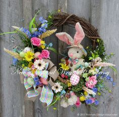 Buttons and Bows Easter Bunny Wreath