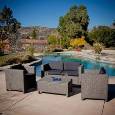 Outdoor Wicker Resin Patio Furniture Seating Set with Cushions - Quality House Resin Patio Furniture, Outdoor Wicker Patio Furniture, Wicker Sofa, Wicker Furniture, Outdoor Decor, Furniture Ideas, Furniture Online, Furniture Layout, Garden Furniture