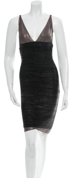 Herve Leger Bandage Dress. Free shipping and guaranteed authenticity on Herve Leger Bandage Dress at Tradesy. Silver and Black Herve Leger bandage dress with V-...