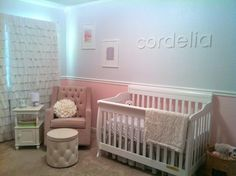 Love the white name on white walls and textured white curtains in this nursery.  #snow #white #nursery #rufflecurtain #nameart