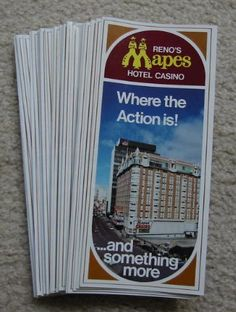 """Lot of 50 Old - MAPES Hotel CASINO - Reno Nevada Brochures - 4""""x9 ..."""