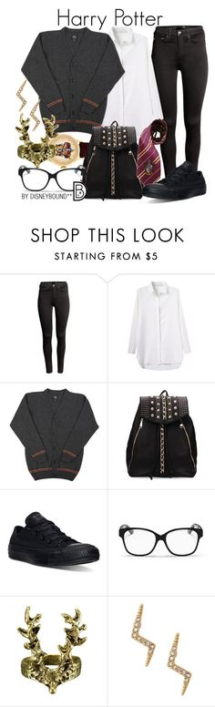 """""""Harry Potter"""" by leslieakay ❤ liked on Polyvore featuring H&M, Elope, Converse, Christian Dior, Stella & Dot and harrypotter"""