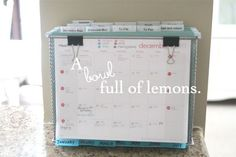 Creating a command center doesn't have to take up precious wall space and be an elaborate collage of picture frames and calenders. Check out A Bowl Full of Lemons to see how you can create a mobile COMMAND CENTER
