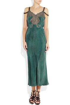 Erickson Beamon | Bead-embellished silk and lace gown | NET-A-PORTER.COM
